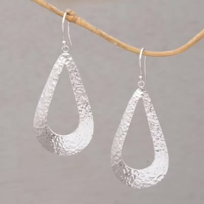 Sterling silver dangle earrings, 'Silver Shimmer' - Handcrafted Sterling Silver Dangle Earrings from Indonesia