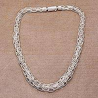 Sterling silver chain necklace, 'Warrior Heart' - Handcrafted Sterling Silver Chain Necklace from Indonesia