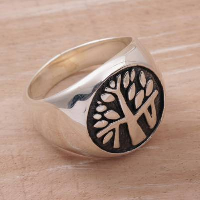 Silver bangle charm bracelet - Handcrafted Sterling Silver Signet Ring with Tree Motif