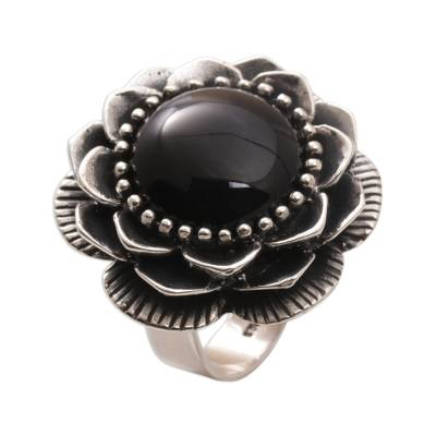 Handmade Onyx and Sterling Silver Cocktail Ring