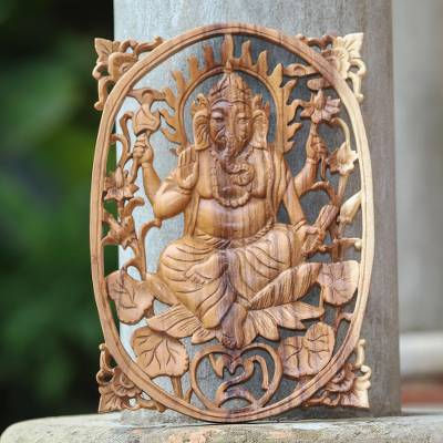 Wood relief panel, 'Aurora Ganesha' - Hand-Carved Suar Wood Ganesha Relief Panel from Bali