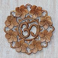 Wood wall relief panel, 'Wangi Om' - Handcrafted Wood Floral Om Relief Panel from Bali