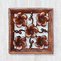 Wood relief panel, Frangipani Square - Handcrafted Suar Wood Plumeria Flower Relief Panel from Bali