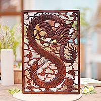 Wood wall relief panel, 'Mystic Battle' - Handcarved Suar Wood Dragon and Garuda Bird Wall Panel