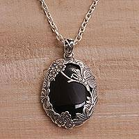 Onyx pendant necklace, 'Evening Butterfly' - Onyx and 925 Silver Butterfly Pendant Necklace from Bali
