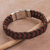 Men's leather wristband bracelet, 'Kintamani Man' - Handcrafted Men's Leather Wristband Bracelet from Bali