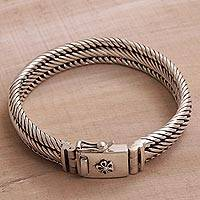 Sterling silver chain bracelet, 'Eternal Shine' - Artisan Crafted Sterling Silver Chain Bracelet from Bali