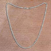 Sterling silver chain necklace, 'Heavenly Links' - Sterling Silver Cuban Link Chain Necklace from Bali