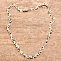 Sterling silver chain necklace, 'Spiral Shimmer' - Artisan Crafted Sterling Silver Chain Necklace from Bali