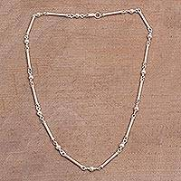 Sterling silver link necklace, 'Luminous Rods' - High-Polish 925 Sterling Silver Link Necklace from Bali
