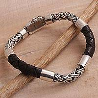 Men's leather and sterling silver bracelet, 'One Strength' - Men's Sterling Silver and Leather Bracelet from Bali
