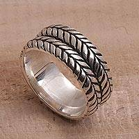 Sterling silver band ring, 'Brave Soul' - Handcrafted Sterling Silver Tire Pattern Unisex Ring