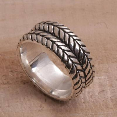 compass bezel ring use - Handcrafted Sterling Silver Tire Pattern Unisex Ring