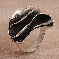 Sterling silver cocktail ring, 'Wavy Dunes' - Sterling Silver Modern Cocktail Ring from Bali