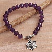 Amethyst beaded charm bracelet,