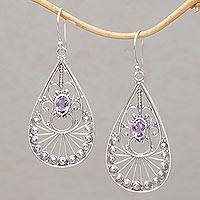 Amethyst dangle earrings, 'Divine Tears' - Amethyst and Sterling Silver Dangle Earrings from Bali