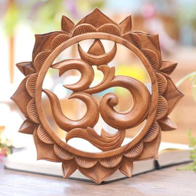 Wood relief panel, 'Sunflower Om' - Brown Suar Wood Floral Om Relief Panel from Bali