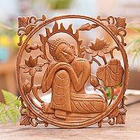 Wood wall relief panel, 'Buddha in Repose' - Handcrafted Suar Wood Buddha Relief Panel from Bali