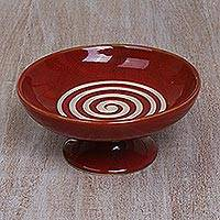 Ceramic catchall, 'Groovy Spiral in Red' - Handmade Ceramic Spiral Motif Catchall in Red from Bali