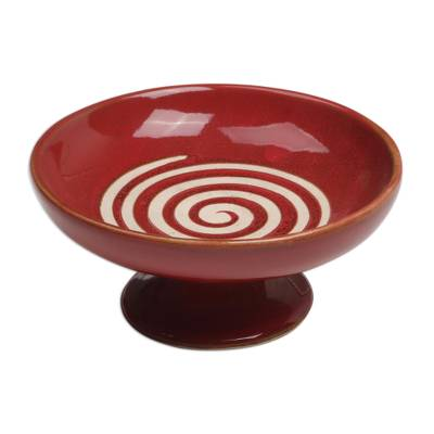 Handmade Ceramic Spiral Motif Catchall in Red from Bali