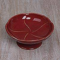 Ceramic catchall, 'Frangipani in Red' - Handcrafted Ceramic Floral Catchall in Red from Bali