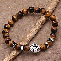 Men's tiger's eye beaded stretch bracelet, 'Temesir Om' - Men's Tiger's Eye Beaded Om Stretch Bracelet from Bali
