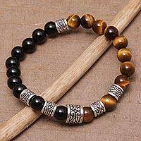 Tiger's eye and onyx beaded stretch bracelet, 'Batuan Renaissance' - Tiger's Eye and Onyx Beaded Stretch Bracelet from Bali