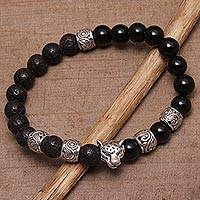 Men's onyx beaded stretch bracelet, 'Leopard Strength' - Men's Onyx Leopard Beaded Stretch Bracelet from Bali