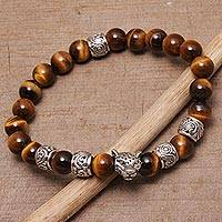 Men's tiger's eye beaded stretch bracelet, 'Leopard Strength' - Men's Tiger's Eye Leopard Beaded Stretch Bracelet from Bali