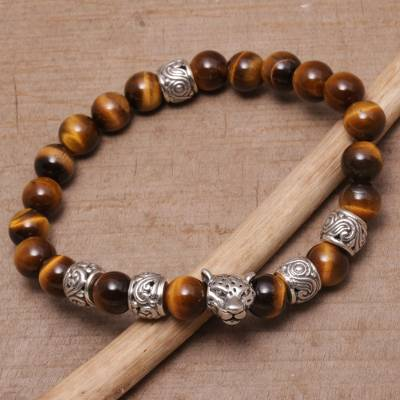 Tiger's eye beaded stretch bracelet, 'Leopard Strength' - Tiger's Eye Leopard Beaded Stretch Bracelet from Bali