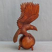 Wood sculpture, 'American Bald Eagle' - Hand Carved Wood Sculpture of a Bald Eagle Landing