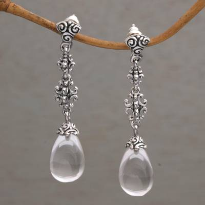 Quartz dangle earrings, 'Majestic Serenade' - Clear Quartz and Sterling Silver Dangle Earrings from Bali