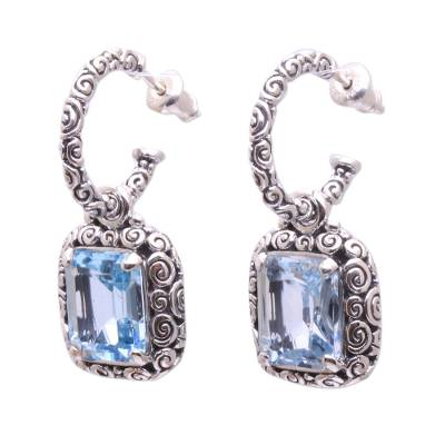 Blue Topaz and 925 Sterling Silver Half Hoop Earrings