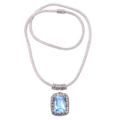 Blue Topaz and Sterling Silver Pendant Necklace from Bali