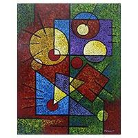 'Geometric in Colors' - Signed Colorful Geometric Abstract Painting from Bali