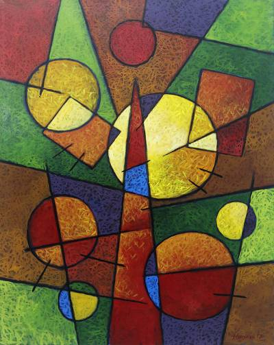 'Geometric Compositions' - Multicolored Signed Geometric Abstract Painting from Bali