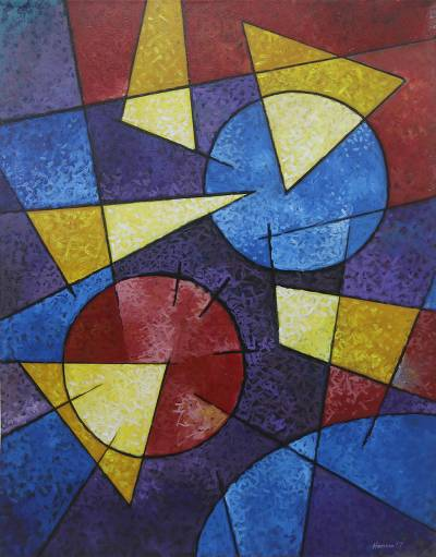 'Geometric Beauty' - Artist Signed Geometric Abstract Painting from Bali