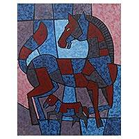 'Regeneration' - Signed Red and Blue Cubist Painting of Two Horses from Bali