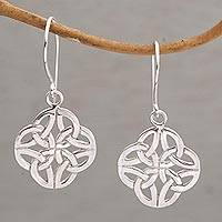 Sterling silver dangle earrings, 'Buddhist Eternity' - Sterling Silver Knot Motif Dangle Earrings from Bali