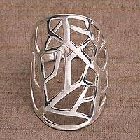 Sterling silver cocktail ring, 'Shining Thicket' - Artisan Crafted Sterling Silver Cocktail Ring from Bali