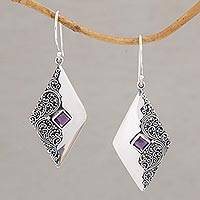Amethyst dangle earrings, 'Diamond Ferns' - Amethyst Diamond-Shaped Dangle Earrings from Bali