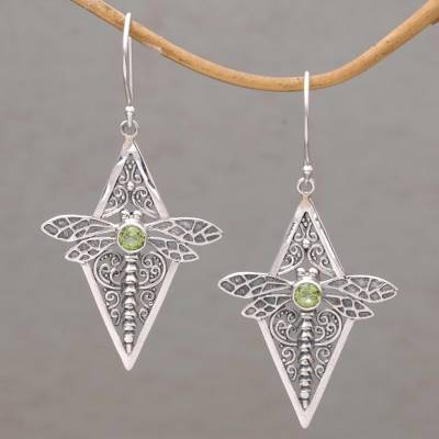 Peridot dangle earrings, 'Dragonfly Diamonds' - Peridot and 925 Silver Dragonfly Dangle Earrings from Bali