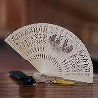 Mahogany wood fan,
