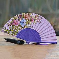 Mahogany and silk fan, 'Garden Bloom' - Hand-Painted Floral Silk and Mahogany Wood Fan from Bali