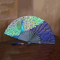 Mahogany and silk fan,
