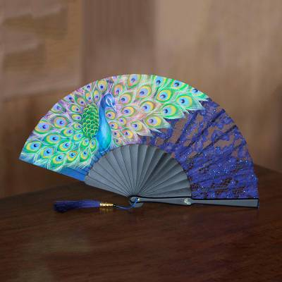 Mahogany and silk fan, 'Peacock Mystery' - Handmade Mahogany and Silk Lacy Peacock Fan from Bali
