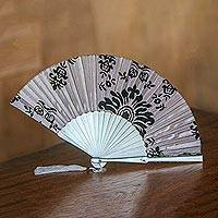 Mahogany and silk fan, 'Silver Dawn' - Silk and Mahogany Wood Fan in Silver Grey from Bali