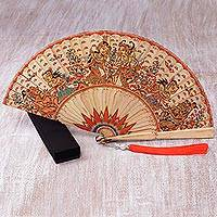Mahogany wood fan, 'Ramayana Sunrise' - Hand-Painted Ramayana Mahogany Wood Fan from Bali