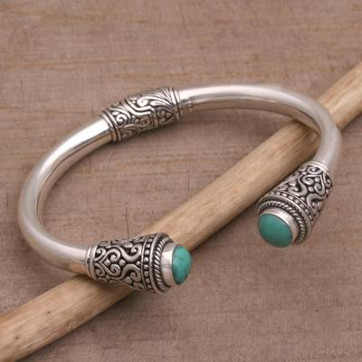 Turquoise cuff bracelet, 'Petal Temple' - Turquoise and Sterling Silver Cuff Bracelet from Bali