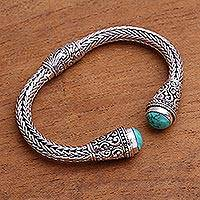 Turquoise cuff bracelet, 'Dragon Beauty' - Handmade Sterling Silver and Turquoise Cuff from Bali